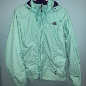 North Face Rain Jacket Mint and Purple